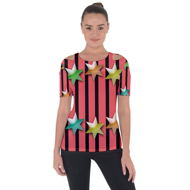 Star Christmas Greeting Shoulder Cut Out Short Sleeve Top