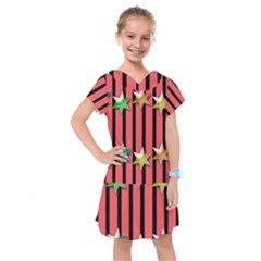 Star Christmas Greeting Kids  Drop Waist Dress by HermanTelo