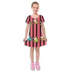 Star Christmas Greeting Kids  Short Sleeve Velvet Dress by HermanTelo