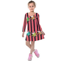 Star Christmas Greeting Kids  Long Sleeve Velvet Dress by HermanTelo