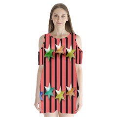 Star Christmas Greeting Shoulder Cutout Velvet One Piece by HermanTelo