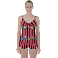 Star Christmas Greeting Tie Front Two Piece Tankini