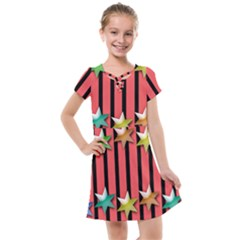 Star Christmas Greeting Kids  Cross Web Dress by HermanTelo