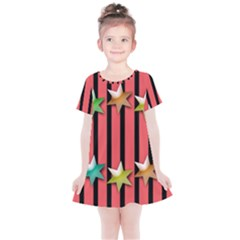Star Christmas Greeting Kids  Simple Cotton Dress by HermanTelo