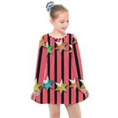Star Christmas Greeting Kids  Long Sleeve Dress by HermanTelo