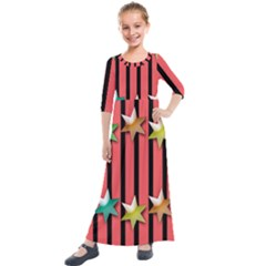 Star Christmas Greeting Kids  Quarter Sleeve Maxi Dress by HermanTelo