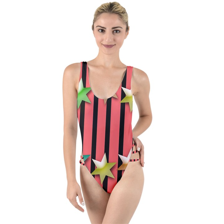 Star Christmas Greeting High Leg Strappy Swimsuit