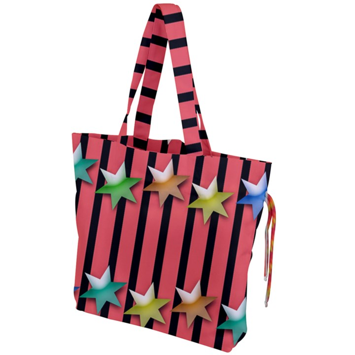 Star Christmas Greeting Drawstring Tote Bag