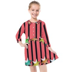 Star Christmas Greeting Kids  Quarter Sleeve Shirt Dress by HermanTelo