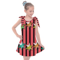 Star Christmas Greeting Kids  Tie Up Tunic Dress by HermanTelo