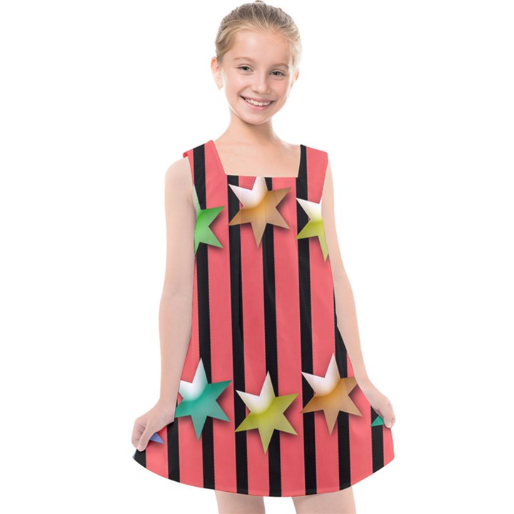 Star Christmas Greeting Kids  Cross Back Dress