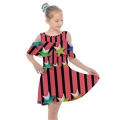 Star Christmas Greeting Kids  Shoulder Cutout Chiffon Dress by HermanTelo