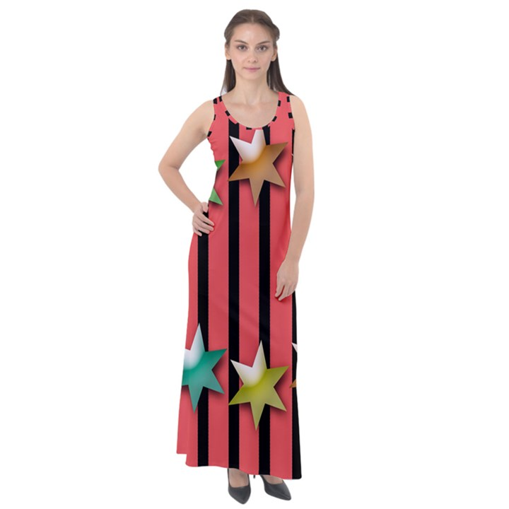 Star Christmas Greeting Sleeveless Velour Maxi Dress