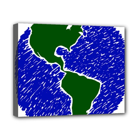 Globe Drawing Earth Ocean Canvas 10  X 8  (stretched) by HermanTelo