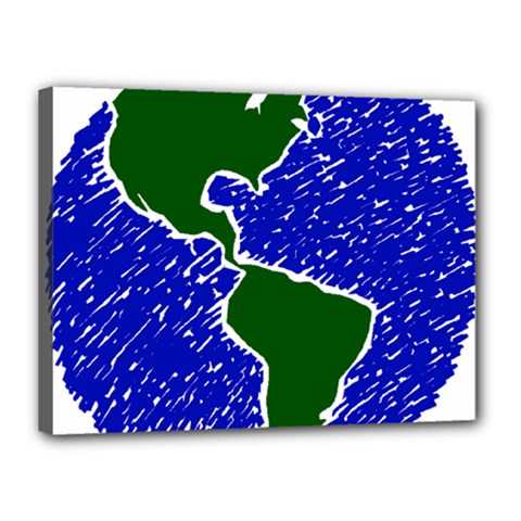 Globe Drawing Earth Ocean Canvas 16  X 12  (stretched) by HermanTelo