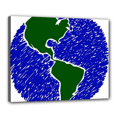 Globe Drawing Earth Ocean Canvas 20  X 16  (stretched) by HermanTelo