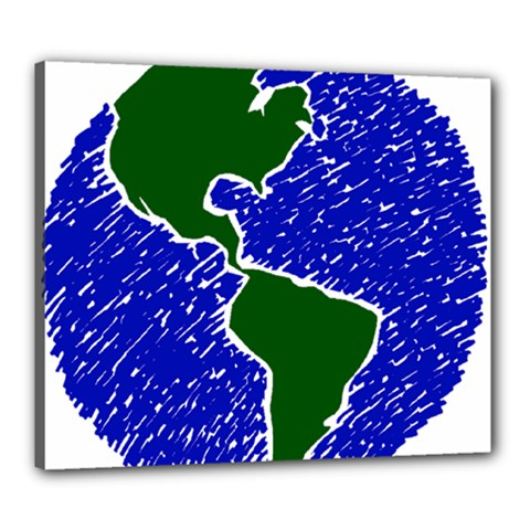 Globe Drawing Earth Ocean Canvas 24  X 20  (stretched) by HermanTelo