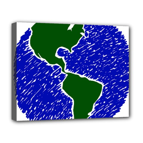 Globe Drawing Earth Ocean Deluxe Canvas 20  X 16  (stretched) by HermanTelo
