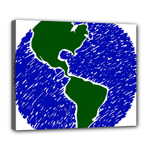 Globe Drawing Earth Ocean Deluxe Canvas 24  X 20  (stretched) by HermanTelo