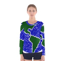Globe Drawing Earth Ocean Women s Long Sleeve Tee