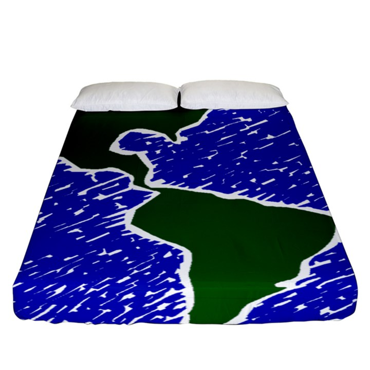 Globe Drawing Earth Ocean Fitted Sheet (King Size)