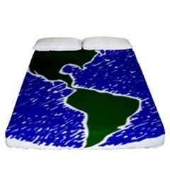 Globe Drawing Earth Ocean Fitted Sheet (california King Size) by HermanTelo
