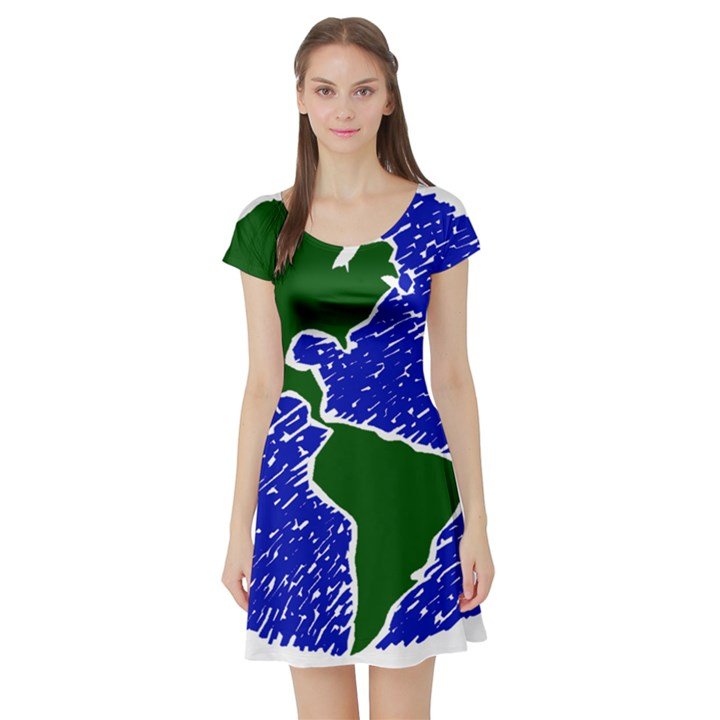 Globe Drawing Earth Ocean Short Sleeve Skater Dress