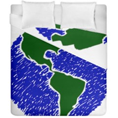 Globe Drawing Earth Ocean Duvet Cover Double Side (california King Size) by HermanTelo