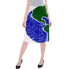 Globe Drawing Earth Ocean Midi Beach Skirt