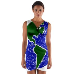 Globe Drawing Earth Ocean Wrap Front Bodycon Dress