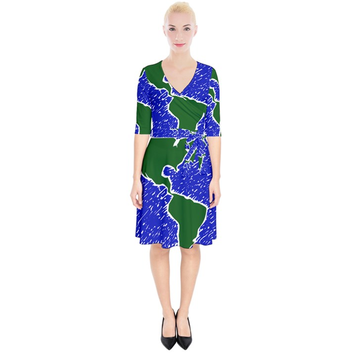 Globe Drawing Earth Ocean Wrap Up Cocktail Dress