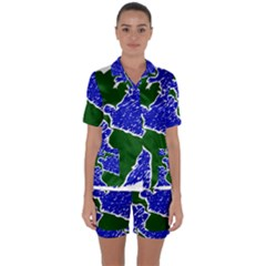 Globe Drawing Earth Ocean Satin Short Sleeve Pyjamas Set by HermanTelo