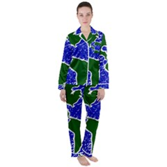 Globe Drawing Earth Ocean Satin Long Sleeve Pyjamas Set by HermanTelo