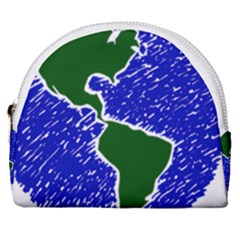 Globe Drawing Earth Ocean Horseshoe Style Canvas Pouch by HermanTelo