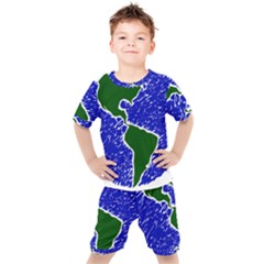 Globe Drawing Earth Ocean Kids  Tee And Shorts Set