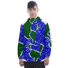 Globe Drawing Earth Ocean Men s Front Pocket Pullover Windbreaker