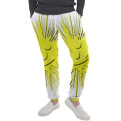 Smilie Sun Emoticon Yellow Cheeky Men s Jogger Sweatpants by HermanTelo