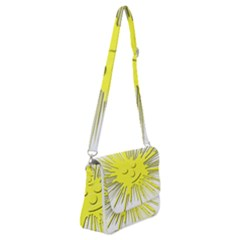 Smilie Sun Emoticon Yellow Cheeky Shoulder Bag With Back Zipper by HermanTelo
