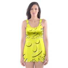 Smilie Sun Emoticon Yellow Cheeky Skater Dress Swimsuit