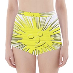 Smilie Sun Emoticon Yellow Cheeky High Waisted Bikini Bottoms by HermanTelo