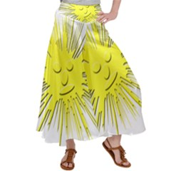 Smilie Sun Emoticon Yellow Cheeky Satin Palazzo Pants by HermanTelo