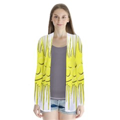 Smilie Sun Emoticon Yellow Cheeky Drape Collar Cardigan