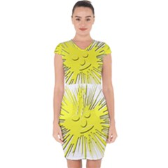Smilie Sun Emoticon Yellow Cheeky Capsleeve Drawstring Dress