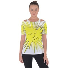 Smilie Sun Emoticon Yellow Cheeky Shoulder Cut Out Short Sleeve Top by HermanTelo