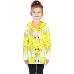 Smilie Sun Emoticon Yellow Cheeky Kids  Double Breasted Button Coat by HermanTelo