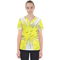Smilie Sun Emoticon Yellow Cheeky Women s V Neck Scrub Top