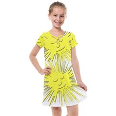 Smilie Sun Emoticon Yellow Cheeky Kids  Cross Web Dress