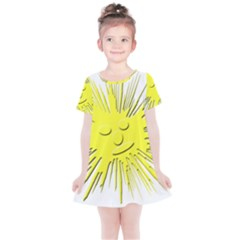 Smilie Sun Emoticon Yellow Cheeky Kids  Simple Cotton Dress