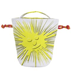 Smilie Sun Emoticon Yellow Cheeky Drawstring Bucket Bag