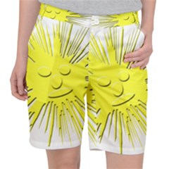 Smilie Sun Emoticon Yellow Cheeky Pocket Shorts by HermanTelo